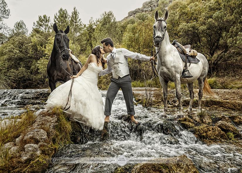 Fotografías de novios con caballos en el agua
